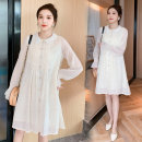 Dress Spring 2021 Picture color M,L,XL,2XL Short skirt singleton  Long sleeves commute Doll Collar High waist Solid color Single breasted A-line skirt routine Others Type A Korean version Button More than 95% Chiffon polyester fiber