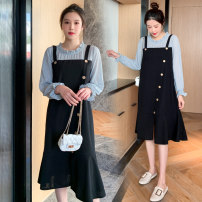 Dress Spring 2021 black M,L,XL,2XL Middle-skirt Fake two pieces Long sleeves commute Crew neck High waist Solid color Socket A-line skirt routine Others Type A Korean version Button 71% (inclusive) - 80% (inclusive) brocade polyester fiber