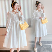 Dress Spring 2021 white M,L,XL,2XL longuette singleton  Long sleeves commute square neck High waist Solid color Socket A-line skirt routine Others Type A Korean version Button 71% (inclusive) - 80% (inclusive) brocade polyester fiber