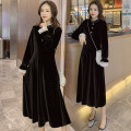 Dress Autumn 2020 black M,L,XL,2XL Mid length dress singleton  Long sleeves commute other High waist Solid color Socket A-line skirt routine Others Type A Korean version 71% (inclusive) - 80% (inclusive) brocade cotton