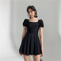 one piece  Princess surana M,L,XL,XXL black Skirt one piece Steel strap breast pad female Short sleeve Casual swimsuit Solid color