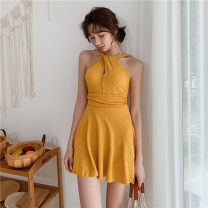 one piece  M,L,XL Ginger  Skirt one piece With chest pad without steel support female Sleeveless Solid color