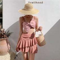 Split swimsuit Princess surana Pink M,L,XL Skirt split swimsuit Steel strap breast pad female
