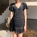 one piece  Princess surana M,L,XL,XXL black Skirt one piece Steel strap breast pad female Short sleeve Casual swimsuit Solid color Lotus leaf edge