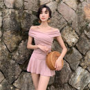 one piece  special counter M,L,XL Nude Pink Skirt one piece With chest pad without steel support female Short sleeve Solid color Pleating