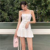 one piece  Princess surana M,L,XL white Skirt one piece Steel strap breast pad female Sleeveless Casual swimsuit Solid color backless