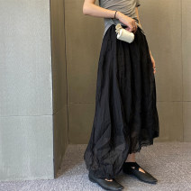skirt Summer 2020 S,M,L Black, green, coffee Mid length dress commute Natural waist A-line skirt Solid color Type A 18-24 years old Simplicity