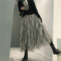 skirt Spring of 2019 Average size Black, gray longuette commute Natural waist Cake skirt Solid color Type A 18-24 years old 2019.01.15 More than 95% other other Splicing Simplicity