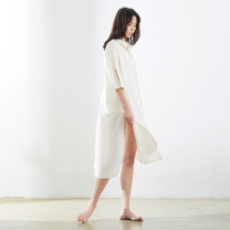 Nightdress Coco Rice white dress, orange dress S(155),M(160),L(165),XL(170) Simplicity three quarter sleeve Leisure home longuette summer Solid color youth Shirt collar cotton Button decoration More than 95% pure cotton 999DW81CY046 300g