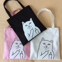 Bag The single shoulder bag canvas Tote Bag Other / other Pink White Black brand new Japan and South Korea in leisure time soft zipper yes Cartoon animation Double root One shoulder hand nothing youth Vertical square printing Mobile phone bag certificate bag