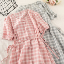 Dress Summer 2020 Apricot, blue, orange, pink Average size Mid length dress singleton  Short sleeve commute V-neck High waist lattice Single breasted A-line skirt puff sleeve 18-24 years old Type A Korean version Chiffon