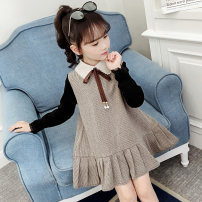 Dress female Other / other Other 100% spring and autumn Korean version Long sleeves Solid color other Lotus leaf edge Four, five, six, seven, eight, nine, ten, eleven, twelve, thirteen, fourteen