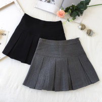 skirt Autumn of 2018 S,M,L Short skirt High waist Pleated skirt Solid color Type A Other / other