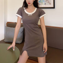 Dress Summer 2020 Black, gray, khaki Average size Short skirt singleton  Short sleeve commute Crew neck High waist Solid color A-line skirt routine Others Type A Other / other Korean version Open back, stitching