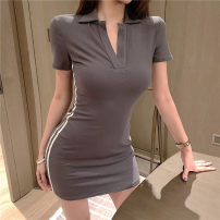 Dress Summer 2020 Grey, light grey Average size Short skirt singleton  Short sleeve commute V-neck High waist Solid color Socket A-line skirt other Others Type A Other / other Retro 81% (inclusive) - 90% (inclusive) other cotton