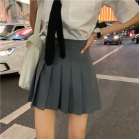 skirt Summer of 2019 S, M Black, gray Short skirt Versatile High waist Pleated skirt Solid color Type A Other / other