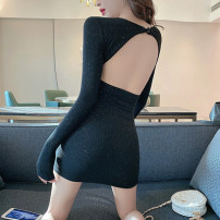 Dress Autumn 2020 black XS,S,M,L,XL Short skirt singleton  Long sleeves commute Crew neck High waist Solid color A button One pace skirt other Others Type A Other / other Retro backless