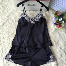 Pajamas / housewear set female Other / other XXXL,XXL,XL,L,M Iced silk camisole sexy pajamas summer Thin money V-neck other shorts Socket youth 2 pieces rubber string 61% (inclusive) - 80% (inclusive) silk Embroidery 200g and below