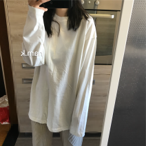 T-shirt white Average size Spring of 2019 Long sleeves Crew neck easy Medium length routine commute cotton 96% and above Korean version
