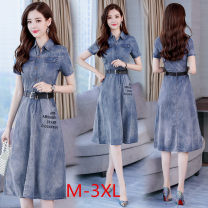 Dress Summer 2020 Denim Retro M,L,XL,2XL,3XL longuette singleton  Short sleeve commute Polo collar middle-waisted letter Socket A-line skirt routine Others Type A Korean version Pockets, straps, rags, buttons Denim