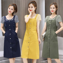 Dress Summer 2020 Ginger, army green, sapphire blue S,M,L,XL,2XL longuette Two piece set Short sleeve commute Crew neck middle-waisted Solid color Single breasted A-line skirt routine straps Type A Korean version Denim cotton