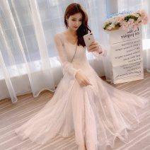 Dress Autumn 2020 Pink, apricot S,M,L,XL longuette Two piece set Long sleeves commute V-neck middle-waisted Solid color Socket Big swing pagoda sleeve Others 25-29 years old Type A Immortal dust Retro More than 95% Lace other