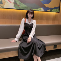 Dress Autumn 2021 black S,M,L,XL,2XL longuette singleton  Long sleeves commute V-neck middle-waisted Solid color Socket Big swing pagoda sleeve Others 25-29 years old Type A Immortal dust Retro Stitching, stereo decoration, button, zipper, 3D More than 95% other other
