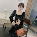 Dress Autumn 2021 black S,M,L,XL Mid length dress singleton  Long sleeves commute square neck middle-waisted Solid color Socket Big swing routine Others 25-29 years old Type A Immortal dust Retro Three dimensional decoration, zipper, 3D More than 95% corduroy other