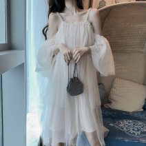 Dress Summer 2020 Off white S,M,L Mid length dress singleton  Sleeveless commute other Loose waist Solid color Socket Big swing Lotus leaf sleeve camisole 25-29 years old Type A Immortal dust Retro Three dimensional decoration, mesh, lace, 3D More than 95% Lace other