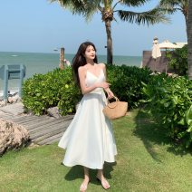 Dress Summer 2021 White, Caramel S,M,L longuette singleton  Sleeveless Sweet V-neck middle-waisted Solid color Socket Big swing routine camisole 25-29 years old Type A Immortal dust More than 95% Silk and satin other Bohemia