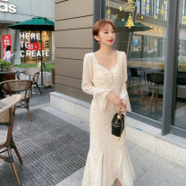 Dress Spring 2021 Apricot, black S,M,L longuette singleton  Long sleeves commute V-neck middle-waisted Solid color Socket Big swing pagoda sleeve Others 25-29 years old Type A Immortal dust Retro Splicing, three-dimensional decoration, mesh, zipper, lace, 3D More than 95% Lace other