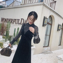 Dress Autumn 2020 black S,M,L longuette Two piece set Long sleeves commute stand collar middle-waisted Solid color Socket Big swing pagoda sleeve Others 25-29 years old Type A Immortal dust Retro Three dimensional decoration, mesh, zipper, lace, 3D More than 95% corduroy other