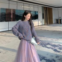 Dress Autumn 2021 Picture color suit S,M,L,XL Mid length dress Two piece set Long sleeves commute Crew neck Elastic waist Solid color Socket Big swing routine Others 18-24 years old Type A Immortal dust Retro Three dimensional decoration, mesh, lace, 3D More than 95% knitting other