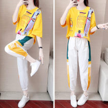 Women's large Summer 2021 Two piece set commute moderate Socket Short sleeve letter Korean version Crew neck routine cotton printing and dyeing routine pocket 31% (inclusive) - 50% (inclusive) Ninth pants