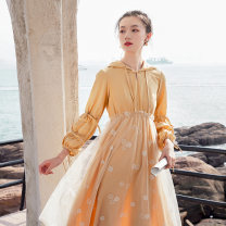 Dress Autumn 2020 Yellow, off white S,M,L Mid length dress singleton  Long sleeves commute Hood High waist Socket A-line skirt bishop sleeve Others Type A Warm smile literature Lace up, stitching lyq203392