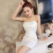 Dress Summer 2021 white S, M Short skirt singleton  Sleeveless street One word collar middle-waisted Socket Pencil skirt Breast wrapping 18-24 years old Type X Other / other 7-2 Europe and America