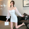 Dress Summer 2021 White, black S,M,L Short skirt singleton  Sweet One word collar High waist Solid color Socket Breast wrapping 51% (inclusive) - 70% (inclusive) other other princess