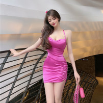 Dress Summer 2021 Rose, champagne S,M,L Miniskirt singleton  Sleeveless commute V-neck High waist Solid color zipper One pace skirt routine camisole Type H Korean version backless JZ031713 30% and below other cotton