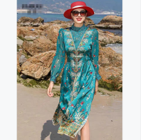 Dress Summer 2020 Picture color M,L,XL,2XL Mid length dress Fake two pieces Long sleeves commute Crew neck middle-waisted Solid color Socket other routine Type H Gouhua hollow 51% (inclusive) - 70% (inclusive) cotton