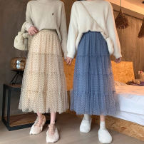 skirt Winter 2020 Average size Apricot blue black coffee longuette commute High waist Cake skirt Dot Type A 18-24 years old cqEre 51% (inclusive) - 70% (inclusive) Chiffon Gooseby cotton Gauze Korean version Cotton 53.4% others 46.6% Pure e-commerce (online only)