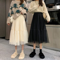 skirt Autumn 2020 Average size Apricot black Mid length dress commute High waist A-line skirt Solid color Type A 18-24 years old vXfTj 31% (inclusive) - 50% (inclusive) Lace Gooseby cotton Gauze Korean version Cotton 36.7% polyester 23.2% others 40.1% Pure e-commerce (online only)