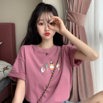 T-shirt M L XL Spring 2021 Short sleeve Crew neck easy Regular routine commute cotton 86% (inclusive) -95% (inclusive) 18-24 years old Korean version originality Cartoon animation Gooseby Cotton 89.7% others 10.3% Pure e-commerce (online only)