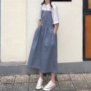 Dress Summer of 2019 Haze blue S M L Mid length dress singleton  Sleeveless commute square neck High waist Decor Socket A-line skirt straps 18-24 years old Type A Gooseby Korean version 9875# 81% (inclusive) - 90% (inclusive) polyester fiber Polyester 89.7% others 10.3% Pure e-commerce (online only)
