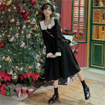 Dress Autumn 2020 black Average size longuette singleton  Long sleeves commute Doll Collar High waist Solid color Socket Big swing routine 18-24 years old Type A Gooseby Korean version Button 1713_ s3t9Z 81% (inclusive) - 90% (inclusive) cotton Cotton 81.4% others 18.6% Pure e-commerce (online only)