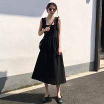 Dress Summer 2020 Black short (Collection + attention) = priority delivery black long Average size Middle-skirt singleton  Sleeveless commute square neck High waist Solid color Socket A-line skirt other straps 18-24 years old Type A Gooseby Korean version straps 026_ 8OLDW Chiffon polyester fiber