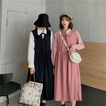 Dress Autumn 2020 White shirt black vest skirt apricot shirt apricot vest skirt pink shirt pink vest skirt Average size longuette Two piece set Long sleeves commute V-neck High waist Solid color double-breasted Big swing routine 18-24 years old Type A Gooseby Korean version Button 8115_ lNBWM other