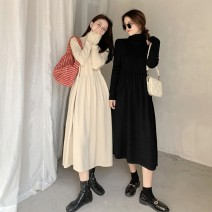 Dress Winter 2020 Apricot black Average size longuette singleton  Long sleeves commute High collar High waist Solid color Socket A-line skirt routine Others 18-24 years old Type A Gooseby Korean version Splicing iGPC9_ cKIra 81% (inclusive) - 90% (inclusive) knitting cotton Cotton 89.7% others 10.3%
