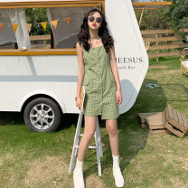 Dress Summer of 2019 Green yellow red M S Miniskirt singleton  Short sleeve Sweet High waist lattice Single breasted Irregular skirt straps 18-24 years old Gooseby 61393# 81% (inclusive) - 90% (inclusive) cotton Cotton 85.4% polyester 14.6% Mori Pure e-commerce (online only)