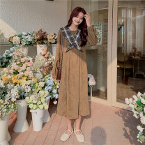 Dress Autumn 2020 Black Camel Average size Mid length dress singleton  Long sleeves commute Crew neck High waist lattice Socket Big swing routine 18-24 years old Gooseby Korean version B826_ 2G9VE 81% (inclusive) - 90% (inclusive) cotton Cotton 81.4% others 18.6% Pure e-commerce (online only)