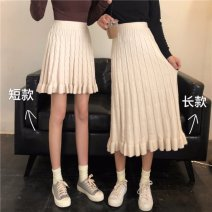 skirt Autumn of 2019 Average size Mid length dress commute High waist A-line skirt Solid color 18-24 years old 81% (inclusive) - 90% (inclusive) Gooseby cotton Korean version Pure e-commerce (online only)